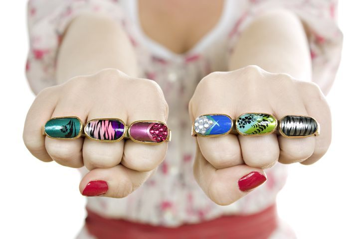 Knuckle Dusters, Rings, gold plated bronze, hand painted acrylic ...