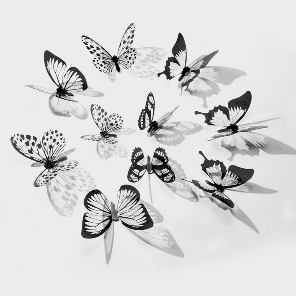 18pcs Livingroom Butterfly Pattern 3d Effect Home Decoration Decals Wall Sticker Fashion Home Garden Butterfly Wall Stickers Butterfly Wall Sticker Wall Art