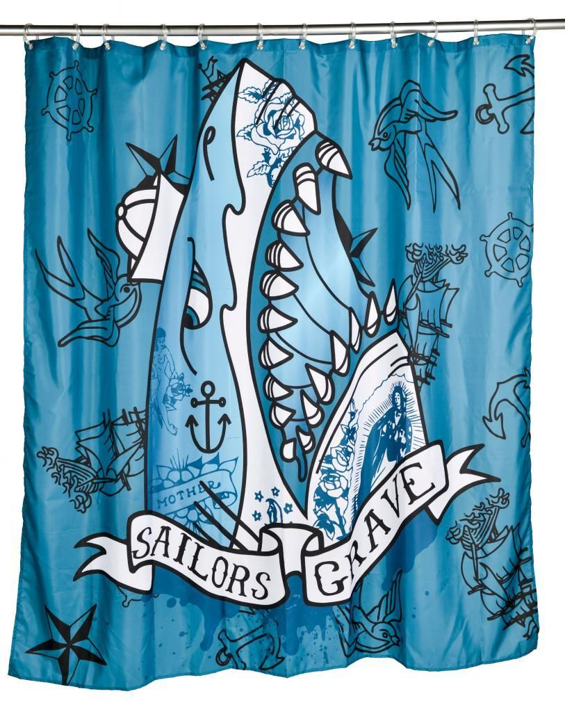 Jolly roger shower curtain - Inked Boutique Sailors Grave Shower Curtain Neo Traditional Tattoo Inspired Nautical Flash Shark Http