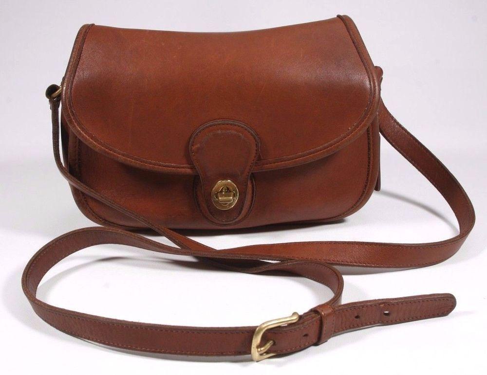 fb97471e7f ... 79.00 Vintage Coach Brown Leather Prairie Bag Twist Turn Lock Shoulder  Handbag Xbody Coach CrossBody ...