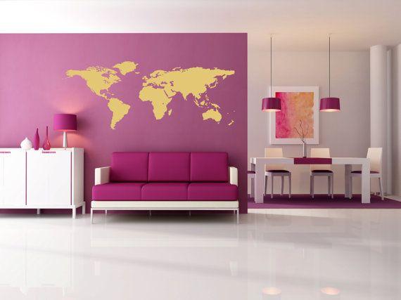 world map wall vinyl metallic gold or silveraztroidsdecalworld