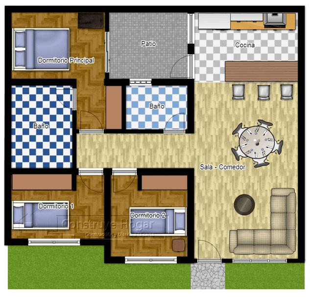 17 Desain Rumah Minimalis Modern 3 Kamar Tidur Paling Bagus   Denah rumah, Rumah minimalis, Rumah