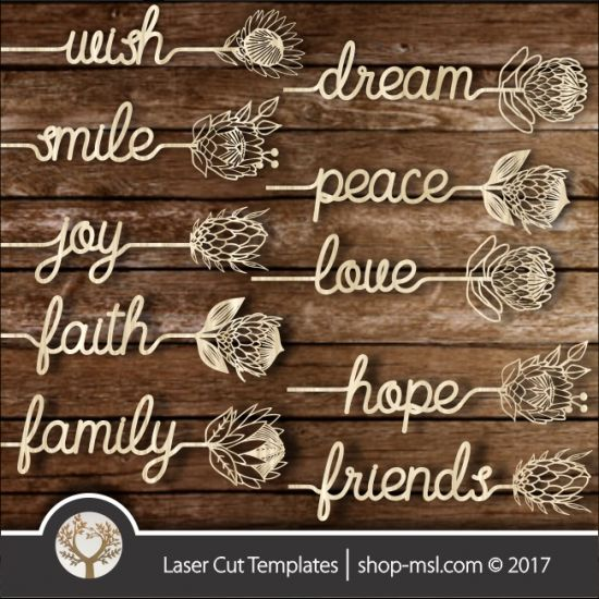 Product 10 Laser cut word flower templates online store free vector