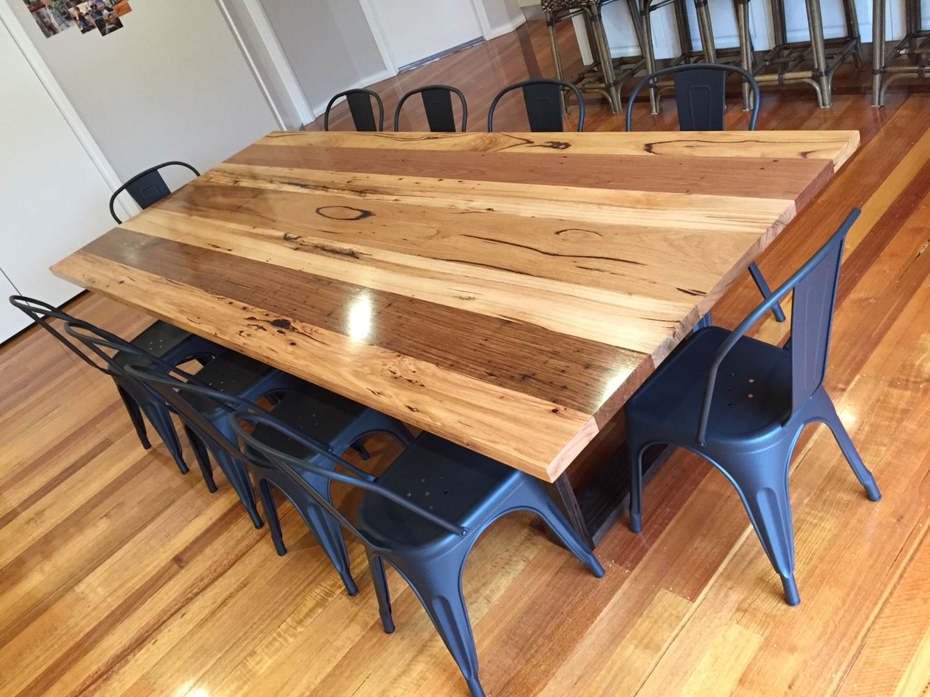 Mixed Recycled Hardwood Timber Dining Table With Black Stained