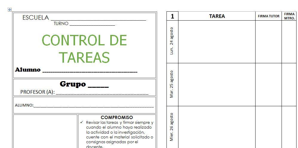 Control de Tareas Escolares - Formato Imprimible | Planeaciones ...