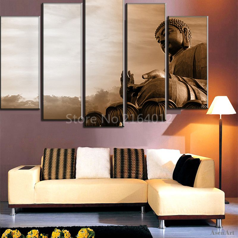 5 Pieces Wall Art Large Buddha Statue Canvas Painting On Religion Pictures Cuadros