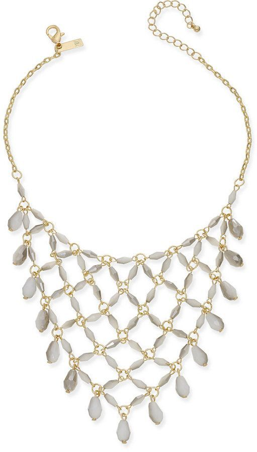 c31bb298d INC International Concepts Gold-Tone White Beaded Net Statement Necklace,  Created for Macy's
