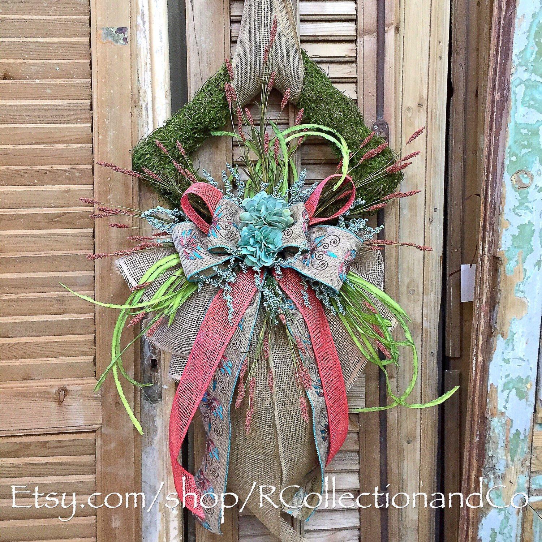 Square Faux Moss Vine Wreath & Coral Burlap Wreath, Wreath
