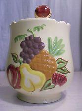 Vtg California Pottery Cookie Jar Fruit Harvest Franciscan Majolica Hand painted