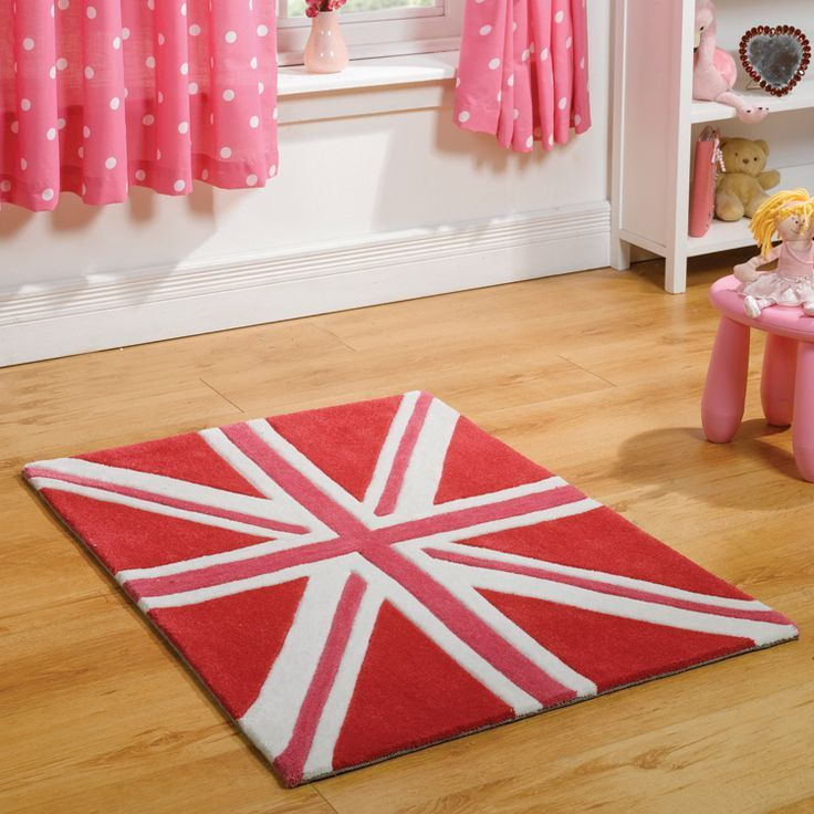 The Mini Jack Rug Collection In Pink Is Perfect For Little Patriots Let Your Children Fly Flag With Our Patriot Range Which Hand Tufted A