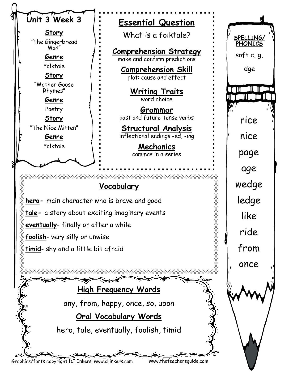 First Grade Wonders Unit Three Week Three Weekly Outline