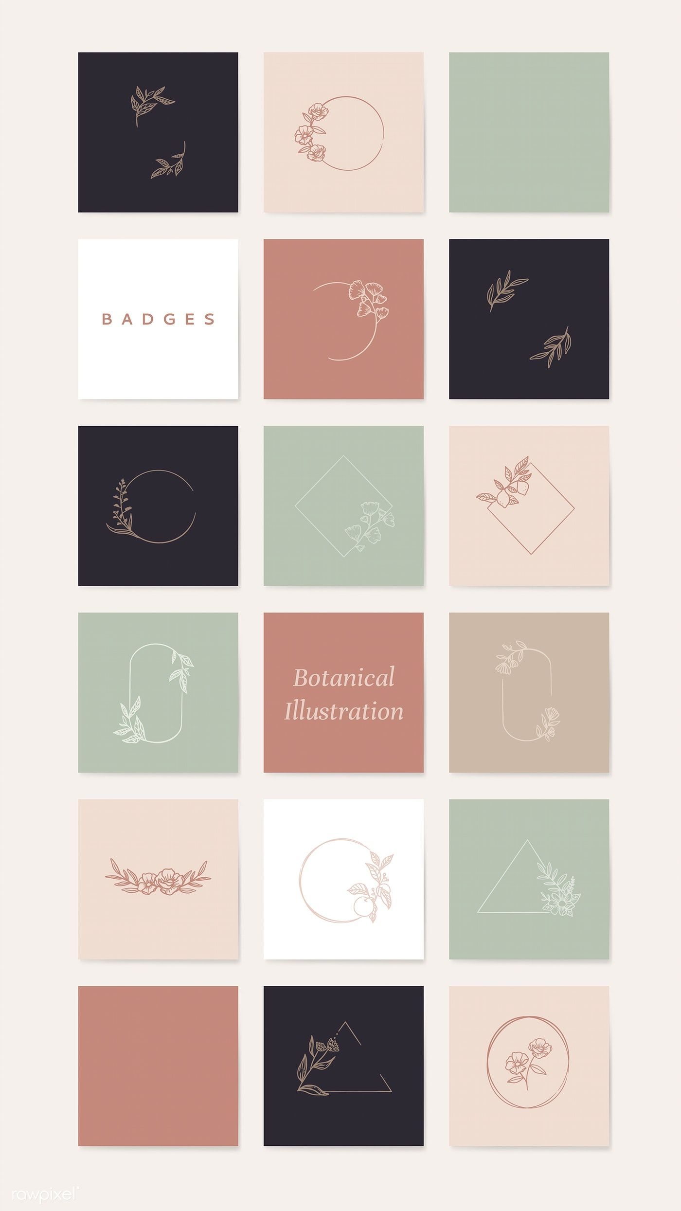 Download premium vector of Botanical frame element vector collection 846078