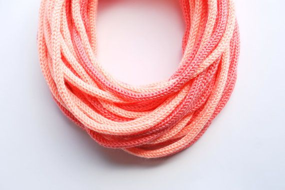 Knitted Tube scarf in grapefruit and light peach by purpletube, $35.00