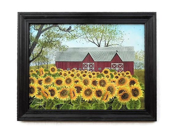 Sunflowers Barn Billy Jacobs Sunshine Art Print Country ...