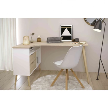Bureau D Angle Style Scandinave Avec Multiples Rangements Bu1037 Terre De Nuit Bureau Home Office Design Modern Corner Desk Desk