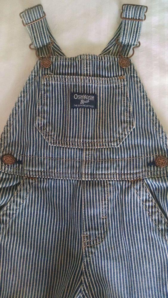 OshKosh B Gosh Baby Boy Overalls Blue Hickory Striped Train Engineer Denim  24M  OshKoshBgosh  Overalls  Everyday b4ba2d6bff169
