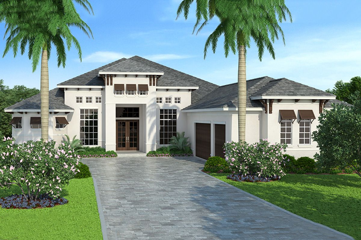 Plan 76030gw Delightful One Level House Plan For Outdoor Living Mediterranean House Plans Mediterranean Style House Plans One Level House Plans