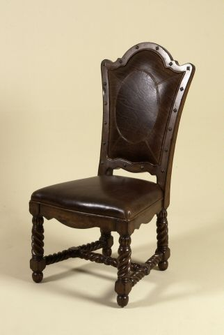 Hand Carved Dark Antique Lido Finished Dining Chair Brompton Brown Leather Oval Pattern
