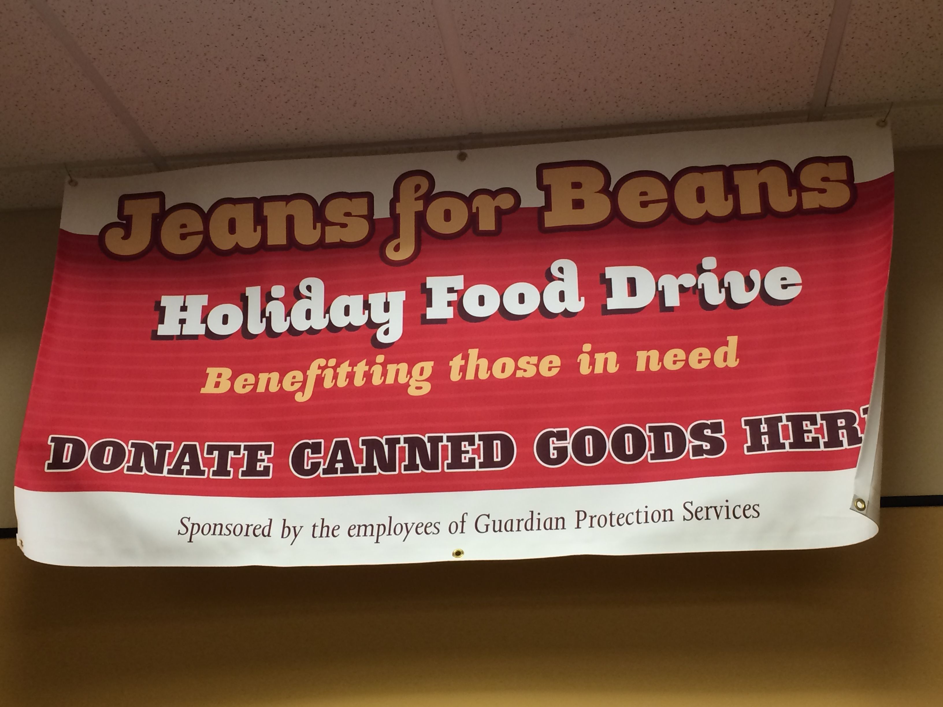 Jeans for Beans! Guardian employees bring in non-perishable items and in exchange wear jeans that day!