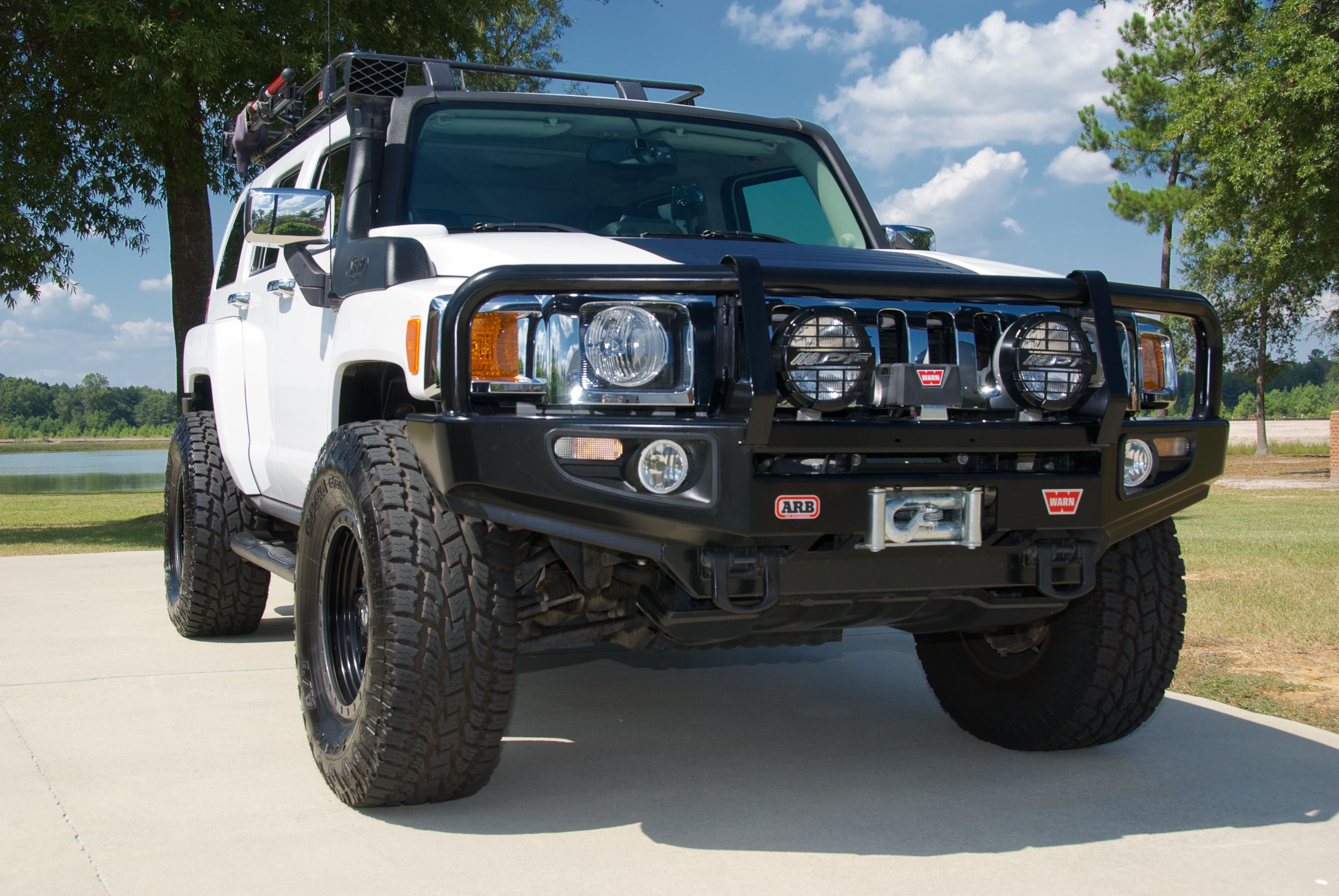 Hummer H3 Alpha Arb Bull Bar Arb Roof Rack Snorkel Warn Winch 35 Toyo Open Country A T Ii Extreme Fuel Trophy Rims Hummer Bull Bar Hummer H3