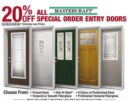 Mastercraft® All Special Order Entry Doors 20% Off from Menards  (20% Off) - >