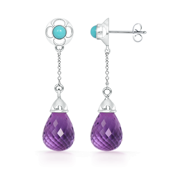 Angara Cushion Amethyst Drop Earrings in White Gold rd999OMs