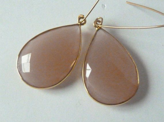Rare Stunning large nude chalcedony faceted teardrop by SueSouk, $75.00