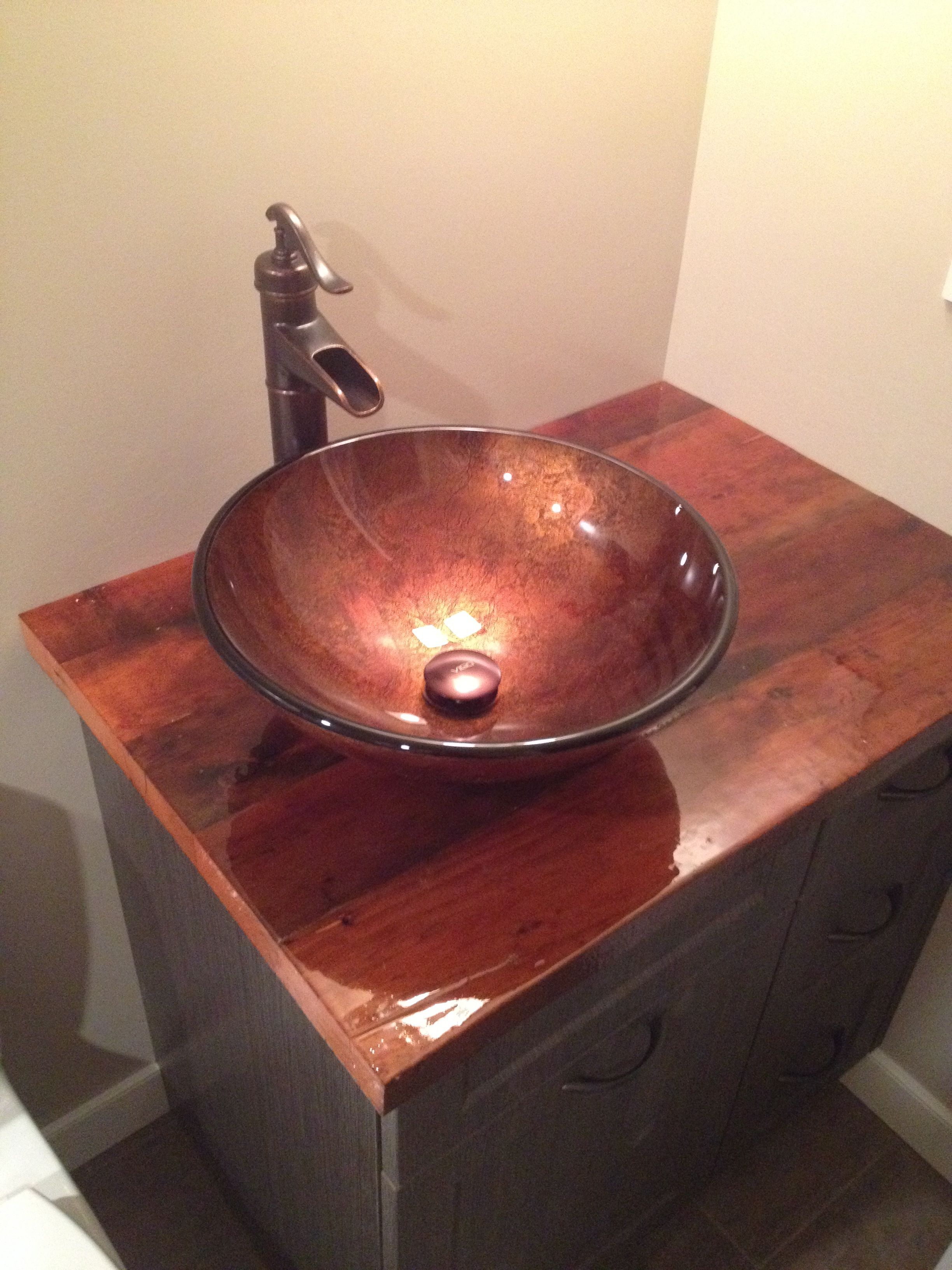 Bathroom Vanity Countertop Made From Fir Timbers Salvaged From A