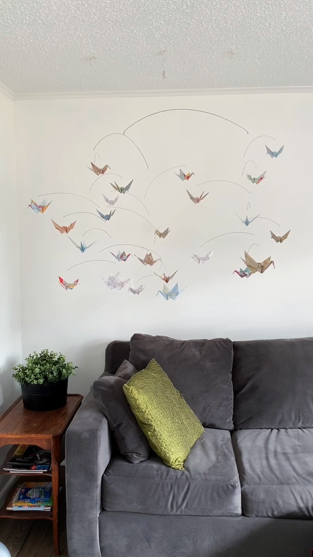 Photo of Wanderlust Map Print Mobile with Origami Paper Cranes