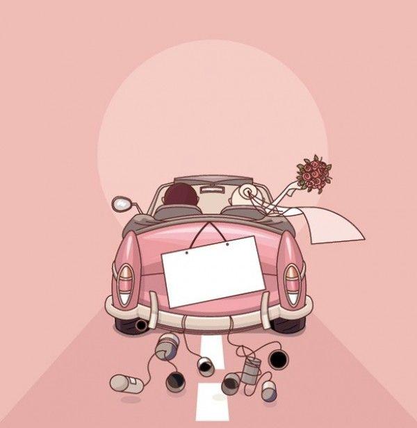 Xoo Plate 5 Sweet Vector Cartoon Wedding Illustrations Trouwkaart Huwelijk Bruid
