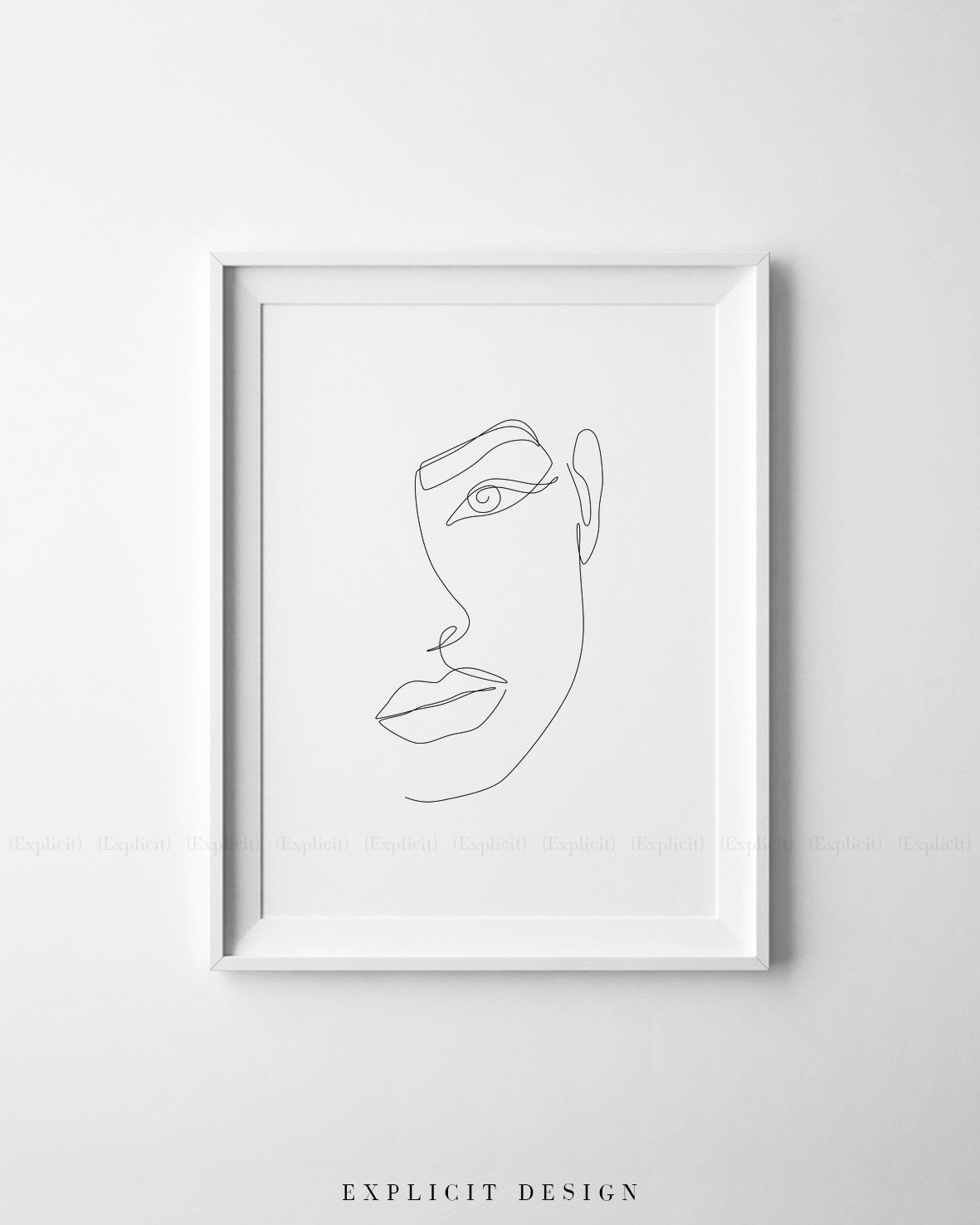 Printable girl face outline sketch one line print black white artwork feminine drawing