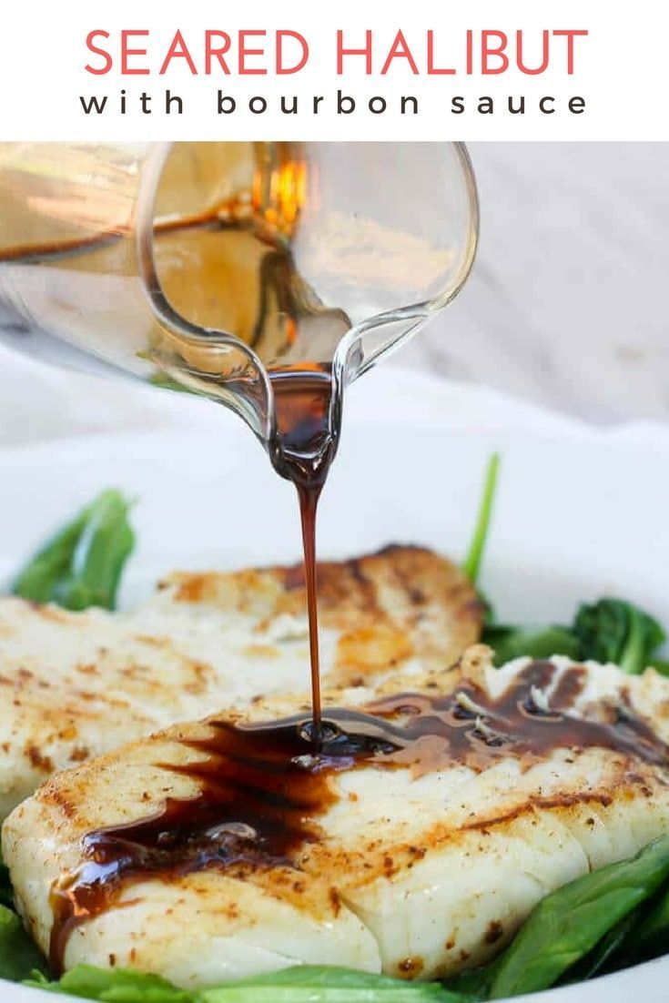 Pan-Seared Halibut with Kentucky Bourbon  ad  This Pan Seared Halibut with Kentucky Bourbon is a seafood Date Night recipe at its best  It  s easy served with spinach and is fast  halibut seafood fishrecipe bourbon via