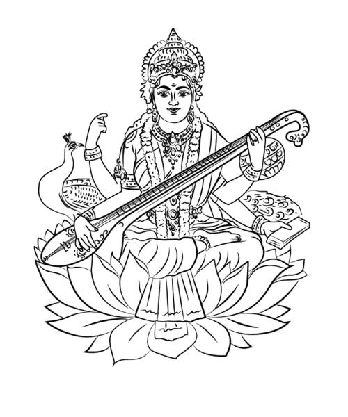 Which Day Should We Pray To Maa Saraswati Drawings Illustration Art Drawing Art Drawings Sketches