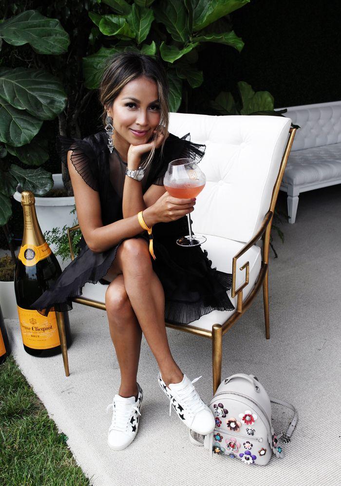 , Having a drink in an Isabel Marant dress dressed down with Saint Laurent sneakers and a Fendi backpack, Anja Rubik Blog, Anja Rubik Blog