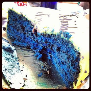 Sweet Frenchie: Blue Velvet cake....