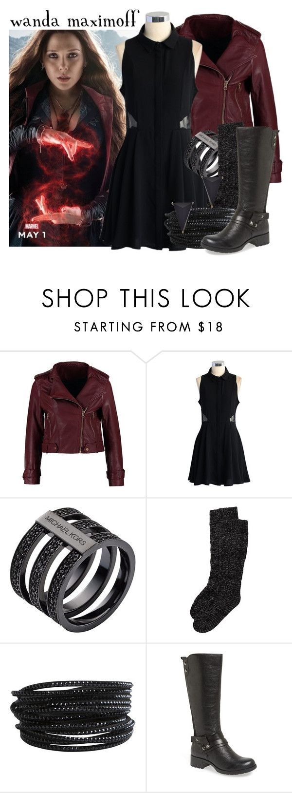 """Wanda Maximoff -- Avengers: Age of Ultron"" by evil-laugh ❤ liked on Polyvore featuring Kookaï, Chicwish, Michael Kors, Rut&Circle, Pieces, Earth and Blu Bijoux"