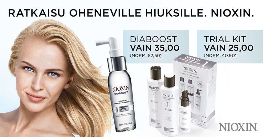 Nioxin diaboost, 35 € (Norm. 52,50 €) Hoito, joka lisää jokaisen olemassa olevan hiuksen paksuutta.Hairlekiini, sähkötalo.