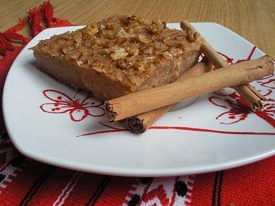 Tarta Budin de manzana y nueces hecha con sémola y miel receta sana y muy facil