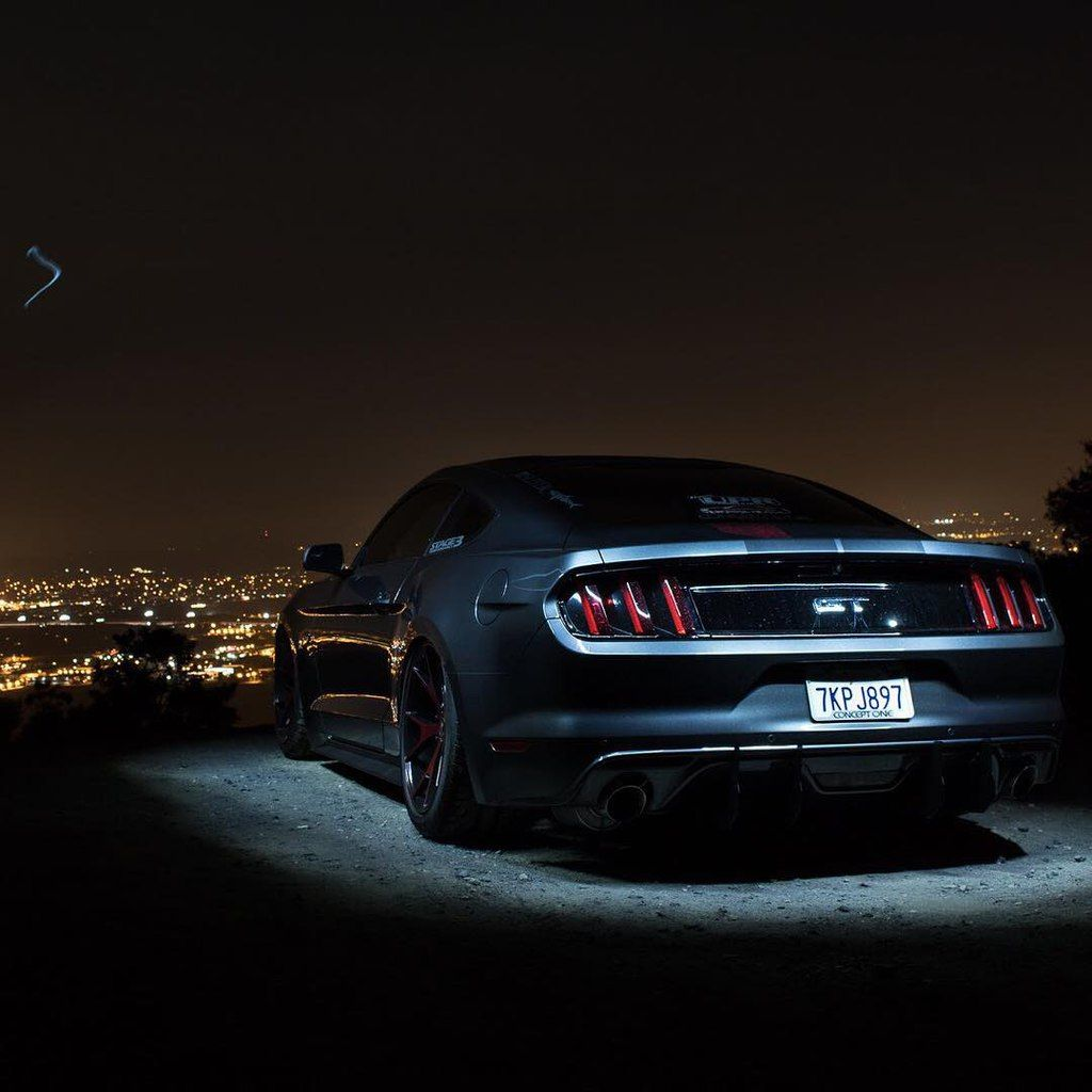Black Ford Mustang Coupe In Night Professional Muscle Car Photo