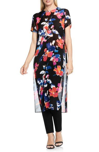 b34d254bc8575f Vince Camuto Floral Rendezvous Long Side Slit Tunic available at #Nordstrom