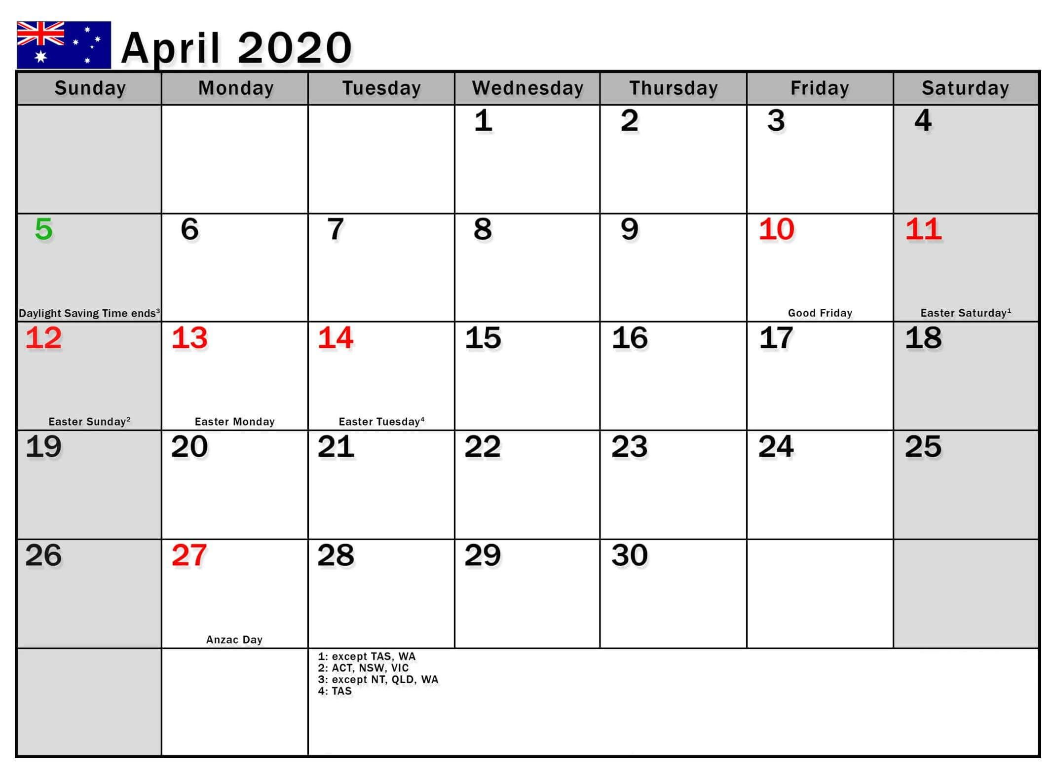 April 2020 Calendar With Australia Holidays In 2020 Federal Holiday Calendar Holiday Calendar Calendar