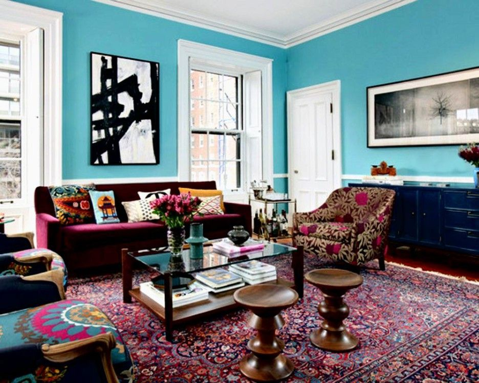 Eclectic Furniture Why Not Delightful Image Of Colorful Living Room Decoration Using Maroon Velvet Sofa Including Bright Light Blue