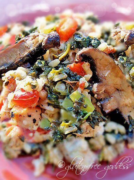 Mediterranean Chicken and Spinach Rice Bake with Portobellos #notphotogenic