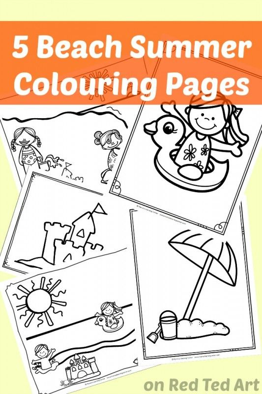 5 At The Beach Summer Coloring Pages