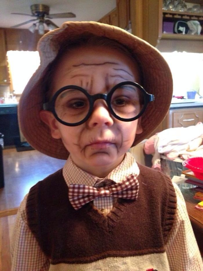 Old Man face on my 6yr old for spirit day at school. I used brown ...