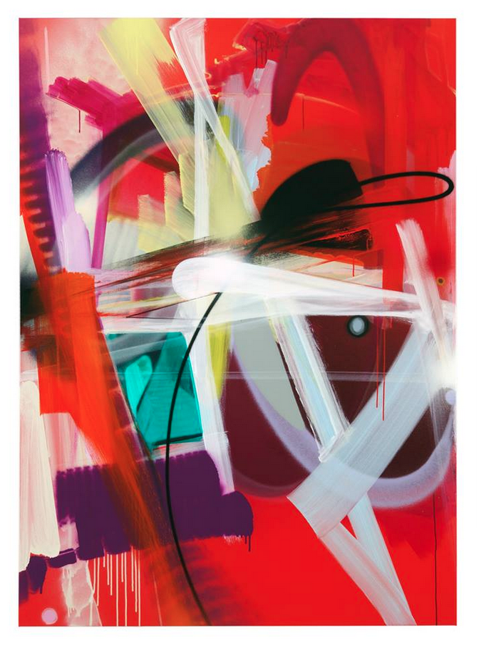 Smash 137 Untitled Red 2014 Spray Paint Acrylic Ink Oil Crayon Charcoal On Linen 180x130cm 71x51inches Abstract Artwork Painting Art