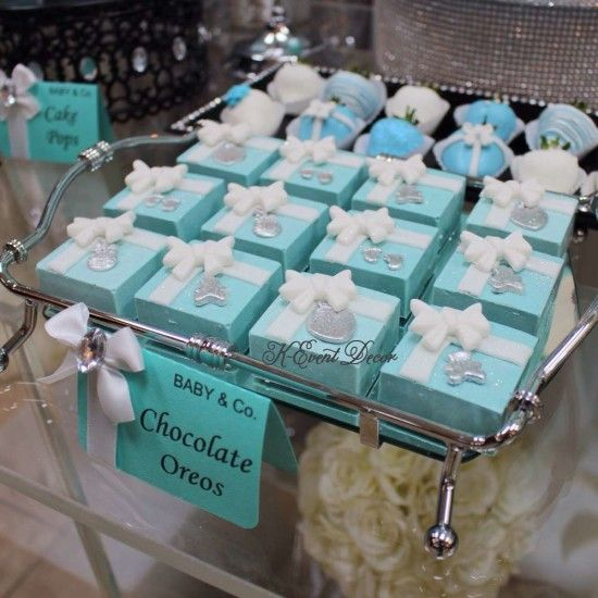 Tiffany Themed Baby Shower Chocolate Oreos