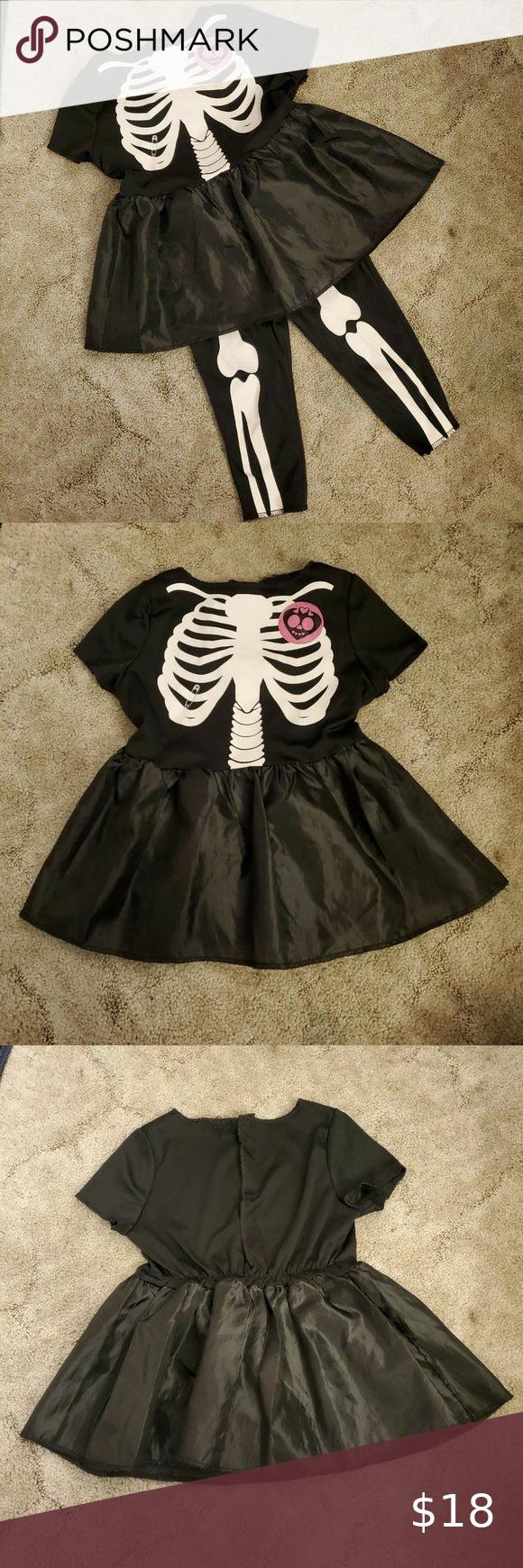 Little Girls 2 Piece Skeleton Costume Dress Black Short Sleeve Dress Costume Dress Dresses [ 1740 x 580 Pixel ]