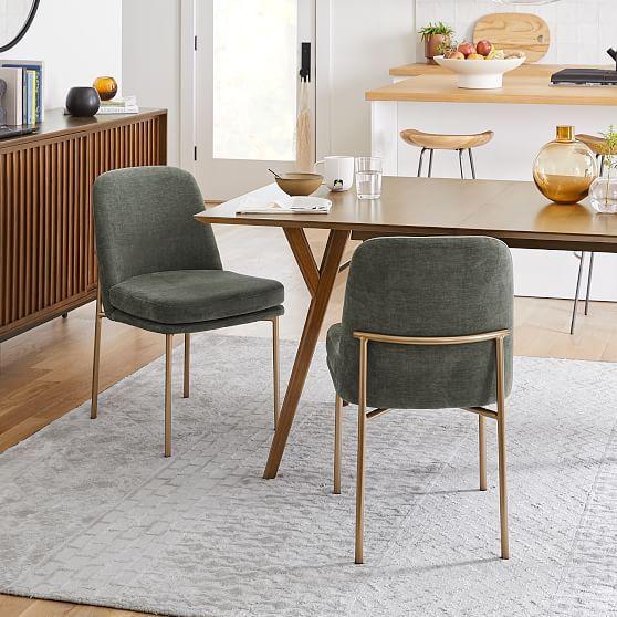 Jack Metal Frame Dining Chairs, Set of 2, Distressed Velvet, Green Spruce, Light Bronze