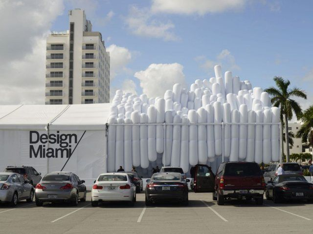 For this year's Design Miami/, Brooklyn-based design firm Snarkitecture created a levitating adaptation of the white vinyl tent for a festival entrance pavilion. #Art Basel #Design Miami